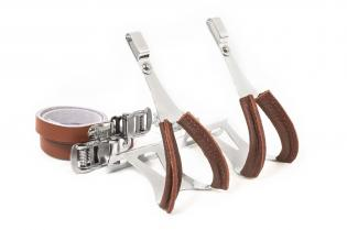 Toe Clips With Leather Straps